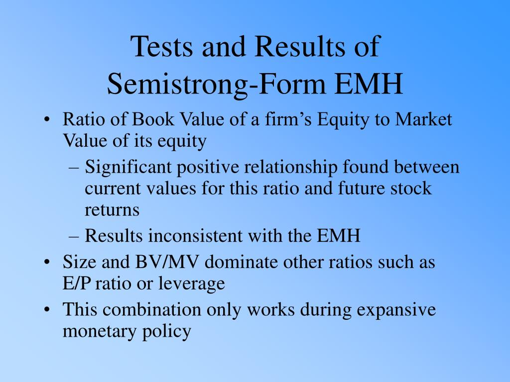 Ratio of Book Value of a firm's Equity to Market Value of its equity