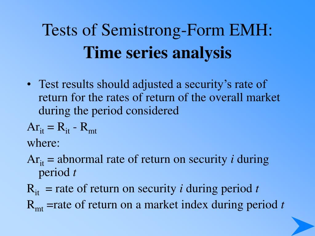 Tests of Semistrong-Form EMH: