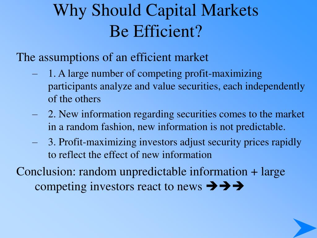 Why Should Capital Markets
