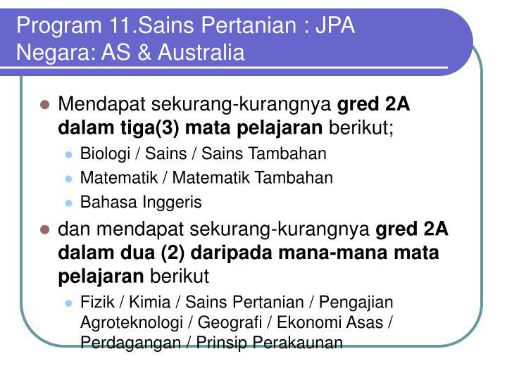 Program 11.Sains Pertanian : JPA