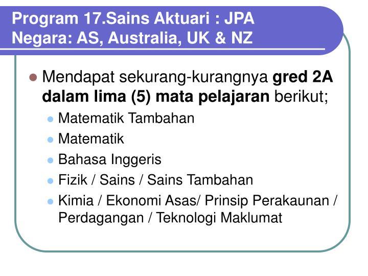Program 17.Sains Aktuari : JPA