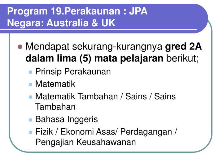 Program 19.Perakaunan : JPA