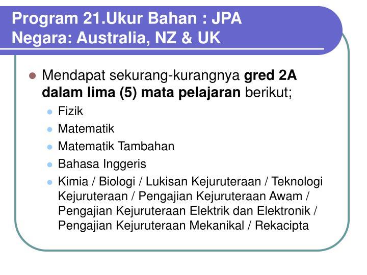Program 21.Ukur Bahan : JPA