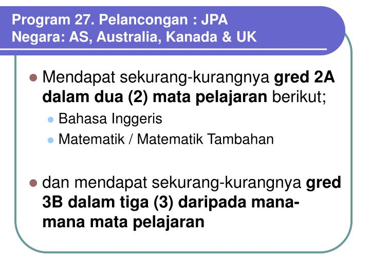 Program 27. Pelancongan : JPA