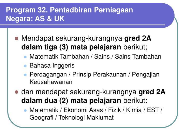 Program 32. Pentadbiran Perniagaan