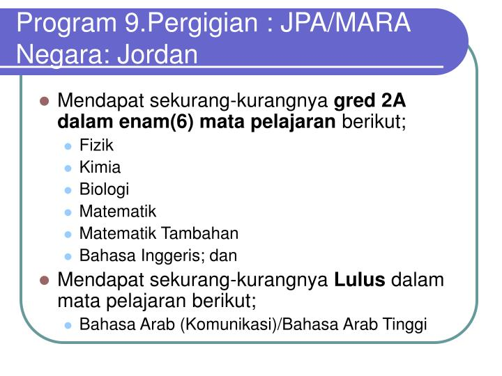 Program 9.Pergigian : JPA/MARA