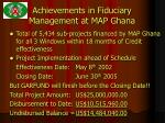achievements in fiduciary management at map ghana