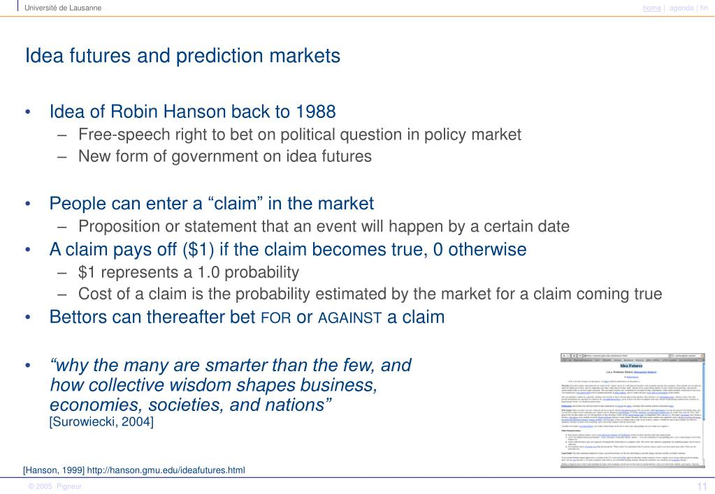 Idea futures and prediction markets