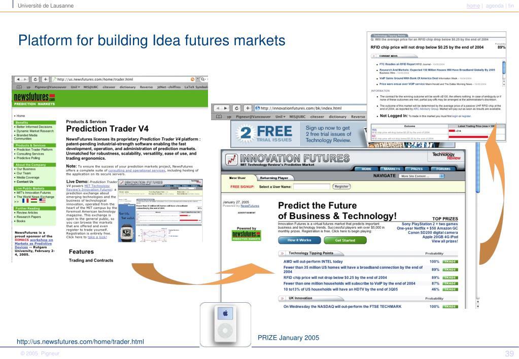 Platform for building Idea futures markets