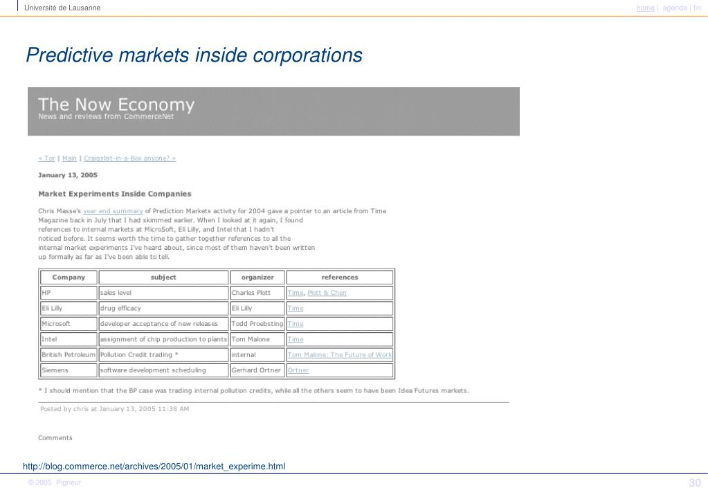 Predictive markets inside corporations