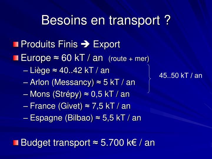 Besoins en transport ?