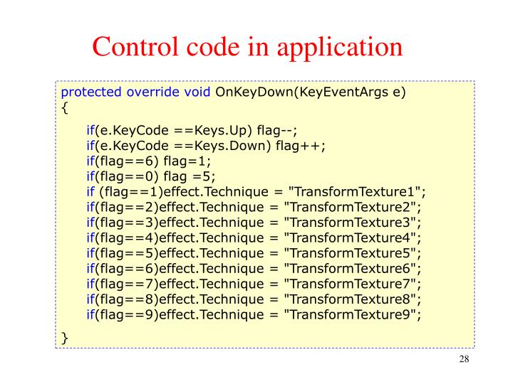 Control code in application