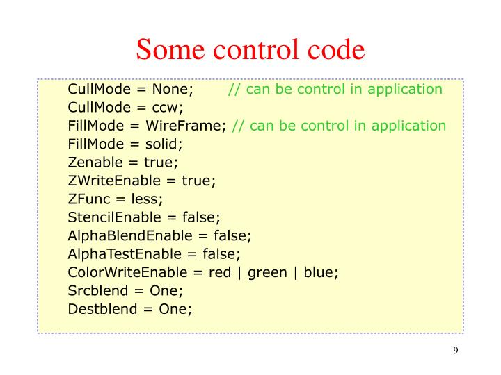 Some control code