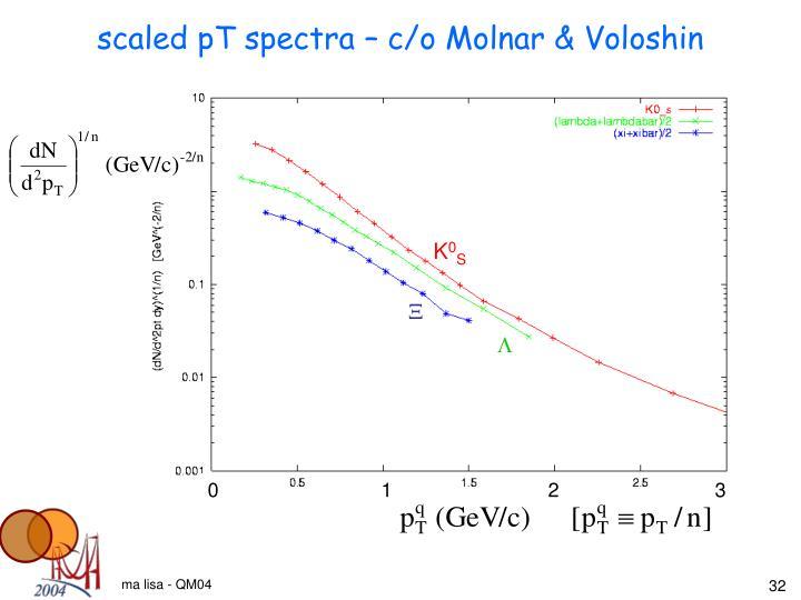 scaled pT spectra – c/o Molnar & Voloshin