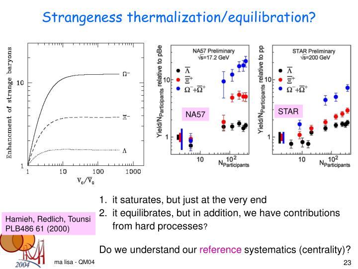 Strangeness thermalization/equilibration?