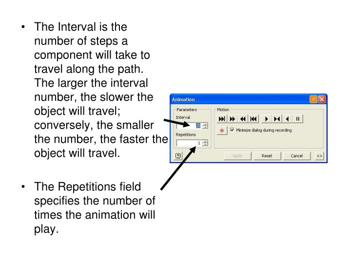 The Interval is the number of steps a component will take to travel along the path.  The larger the interval number, the slower the object will travel; conversely, the smaller the number, the faster the object will travel.
