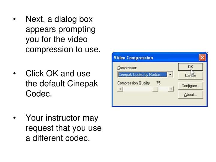 Next, a dialog box appears prompting you for the video compression to use.