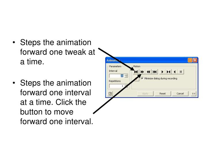 Steps the animation forward one tweak at a time.