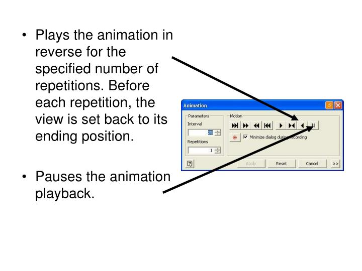 Plays the animation in reverse for the specified number of repetitions. Before each repetition, the view is set back to its ending position.