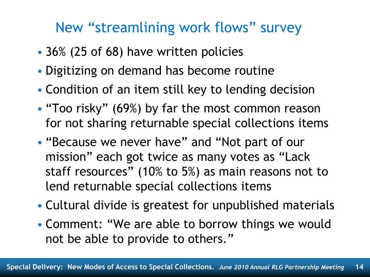 "New ""streamlining work flows"" survey"