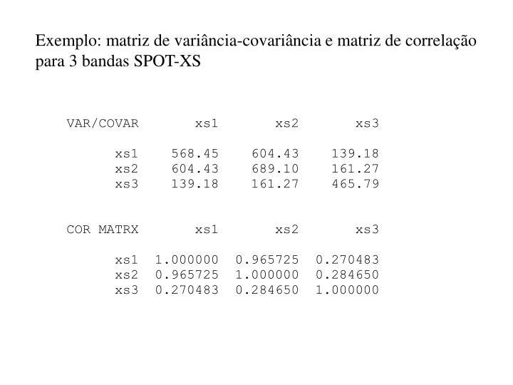 Exemplo: matriz de variância-covariância e matriz de correlação