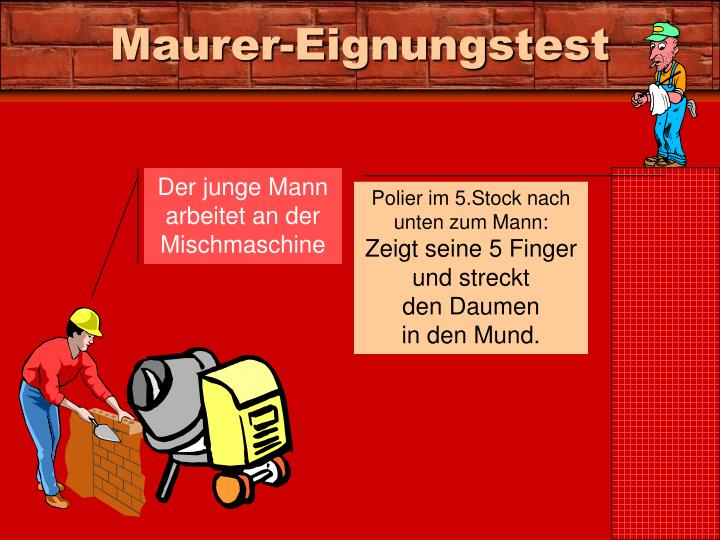 Maurer-Eignungstest