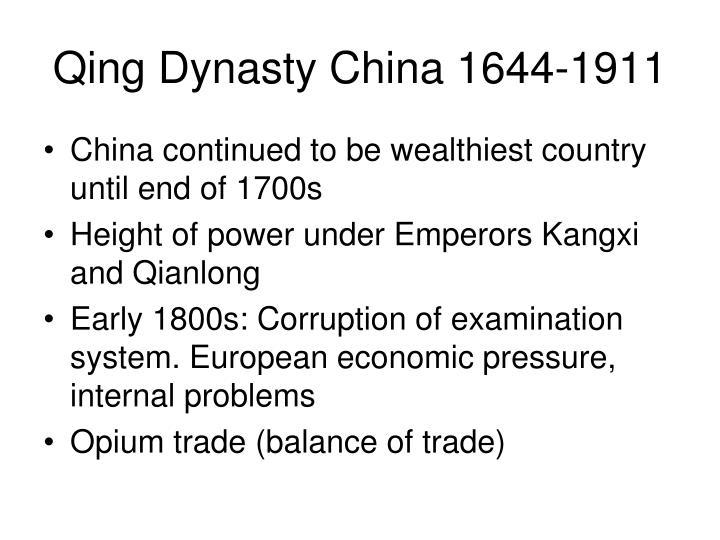 Qing Dynasty China 1644-1911