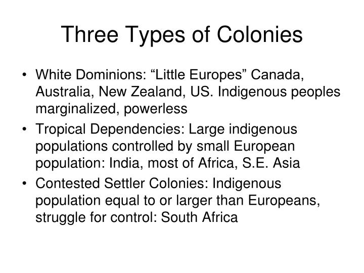 Three Types of Colonies