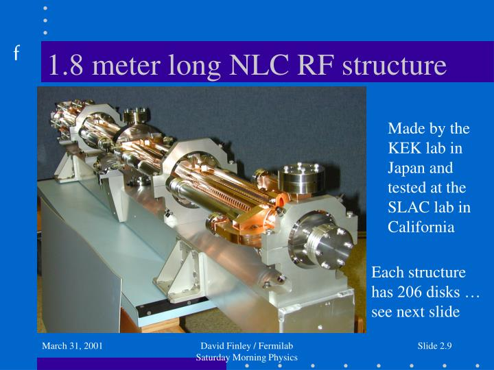 1.8 meter long NLC RF structure