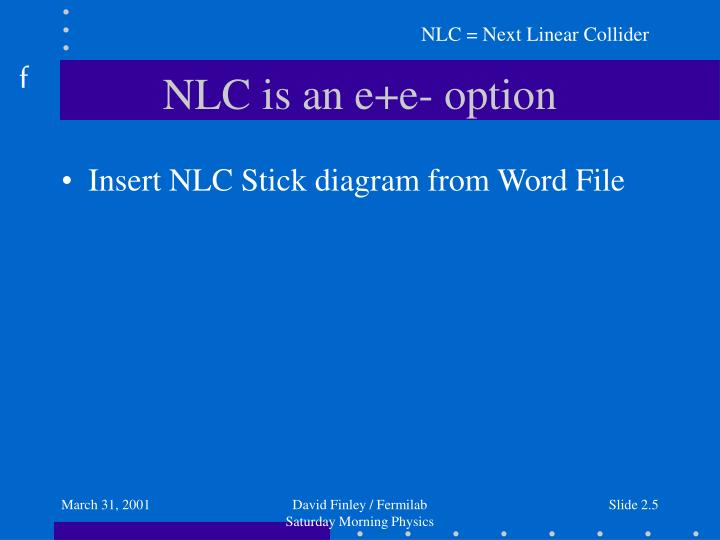 NLC = Next Linear Collider
