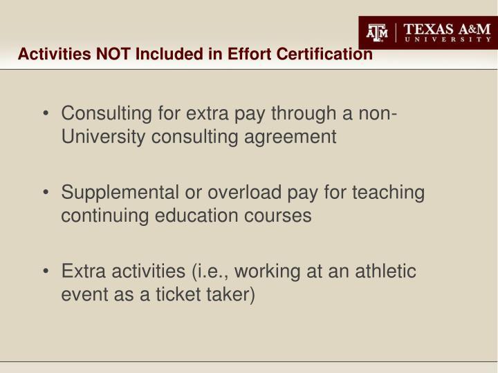 Activities NOT Included in Effort Certification