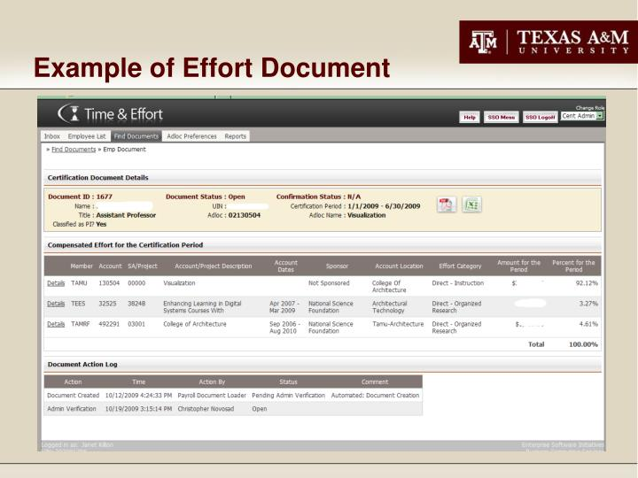 Example of Effort Document