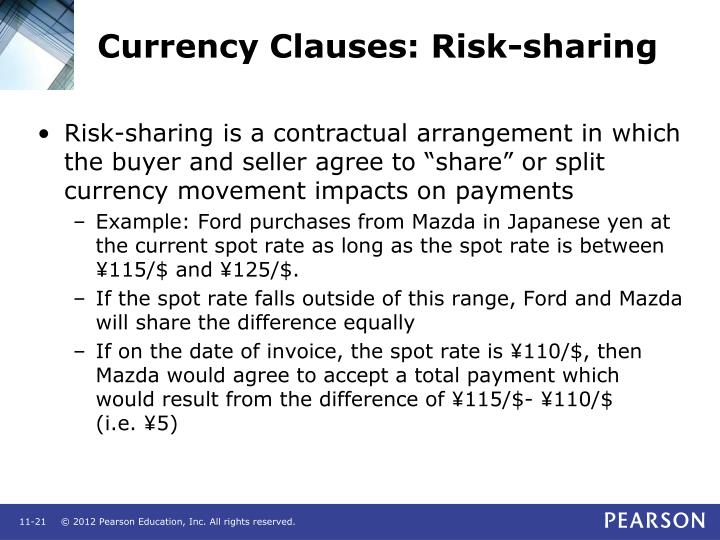 Currency Clauses: Risk-sharing