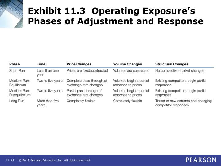 Exhibit 11.3  Operating Exposure's Phases of Adjustment and Response