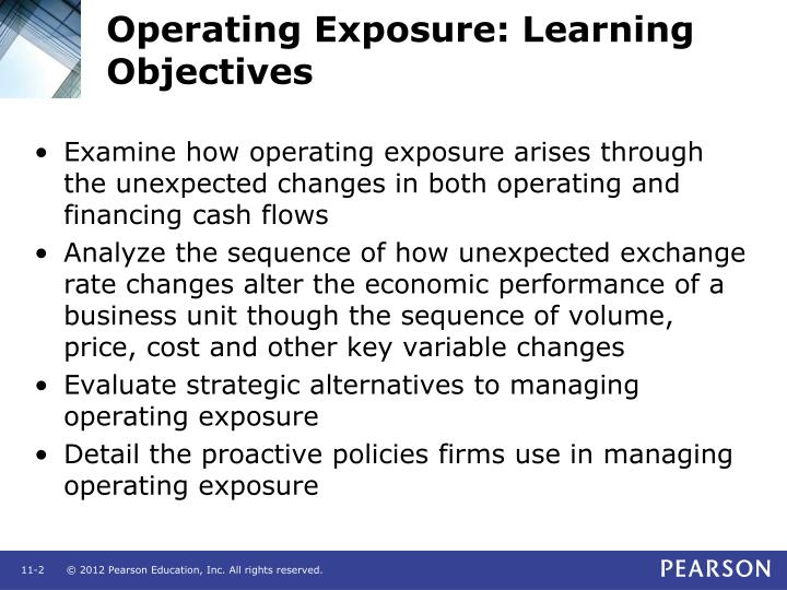 Operating Exposure: Learning Objectives