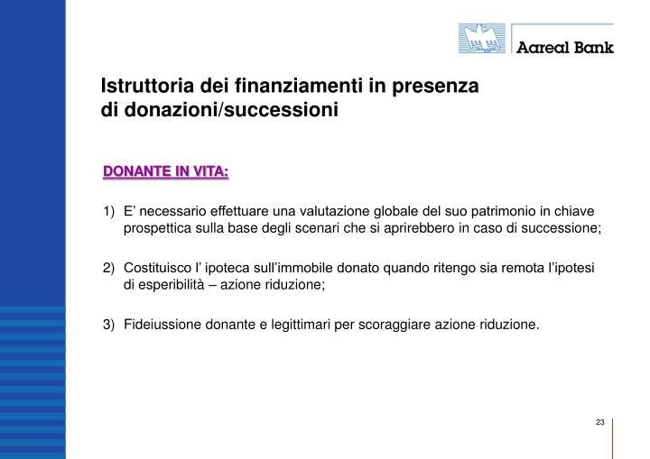Istruttoria dei finanziamenti in presenza