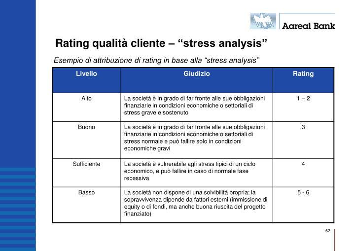 "Rating qualità cliente – ""stress analysis"""
