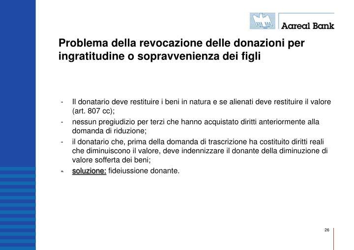 Problema della revocazione delle donazioni per