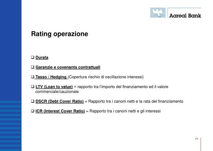 Rating operazione