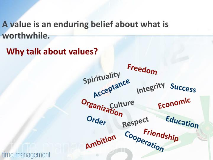 A value is an enduring belief about what is worthwhile.