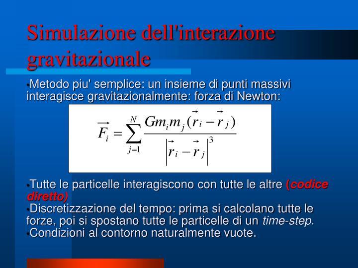 Simulazione dell'interazione gravitazionale