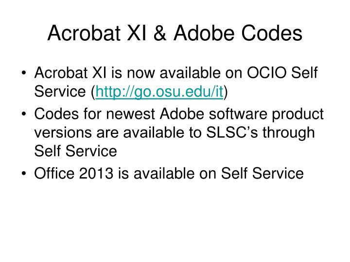 Acrobat XI & Adobe Codes