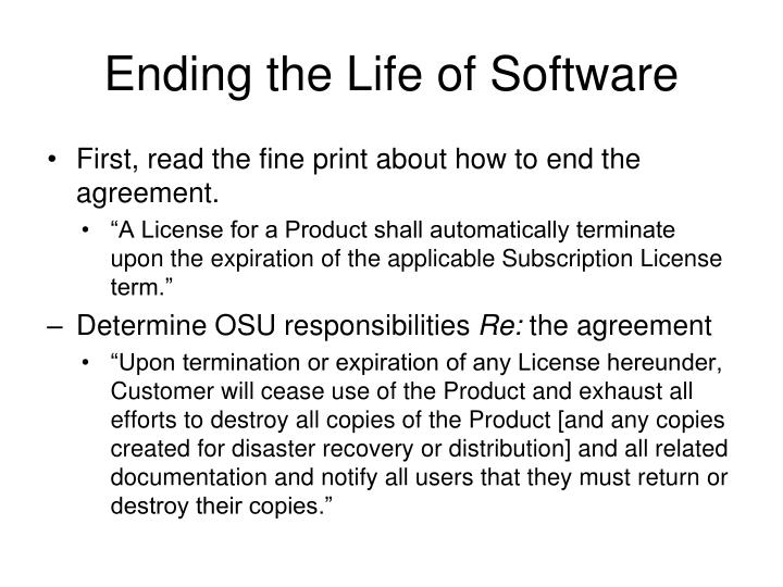 Ending the Life of Software