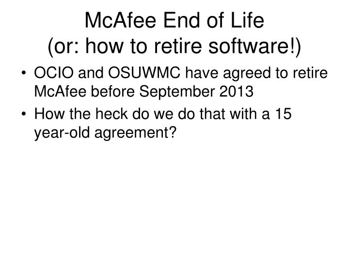 McAfee End of Life