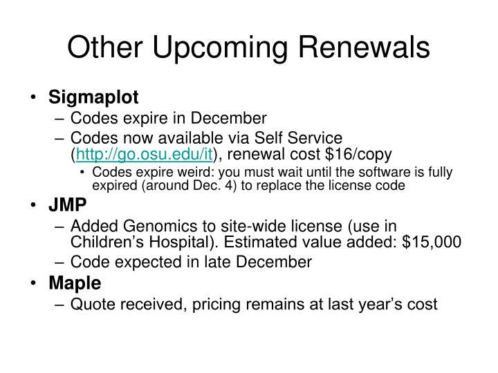 Other Upcoming Renewals