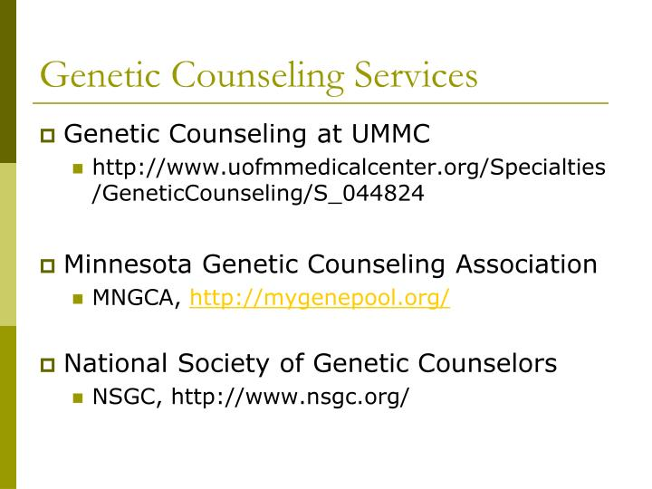 Genetic Counseling Services
