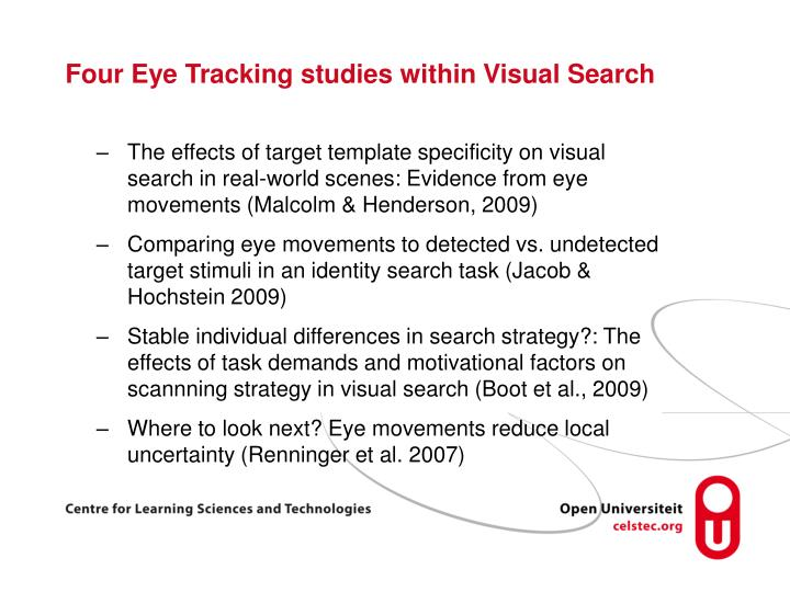 Four Eye Tracking studies within Visual Search