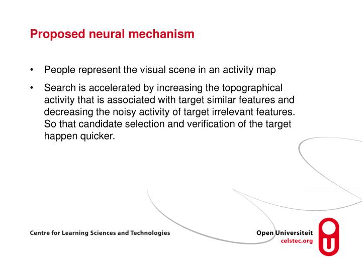 Proposed neural mechanism