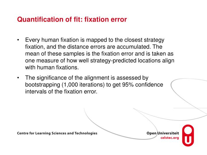 Quantification of fit: fixation error