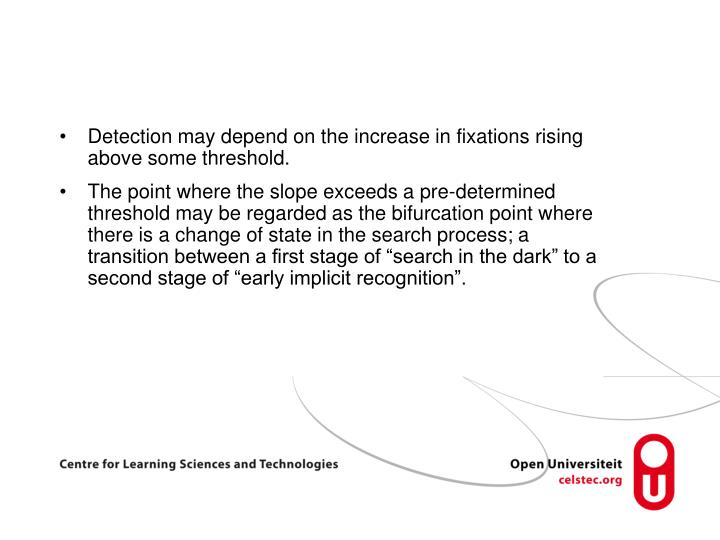 Detection may depend on the increase in fixations rising above some threshold.